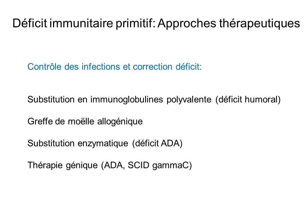 Déficit immunitaire primitif: Approches thérapeutiques