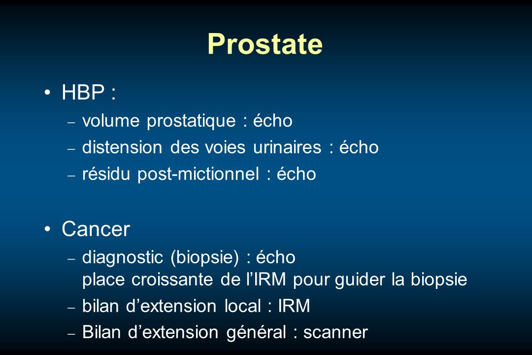 Prostate HBP : Cancer volume prostatique : écho