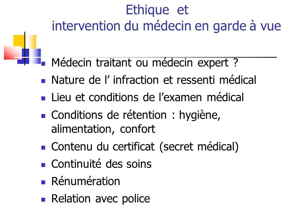 Ethique et intervention du médecin en garde à vue