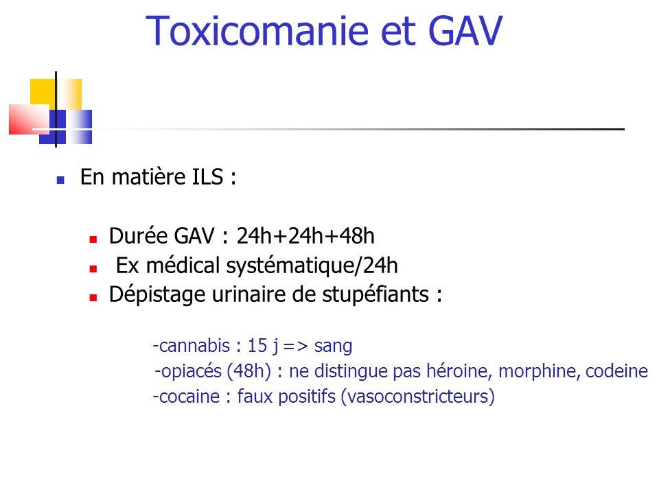 Toxicomanie et GAV En matière ILS : Durée GAV : 24h+24h+48h