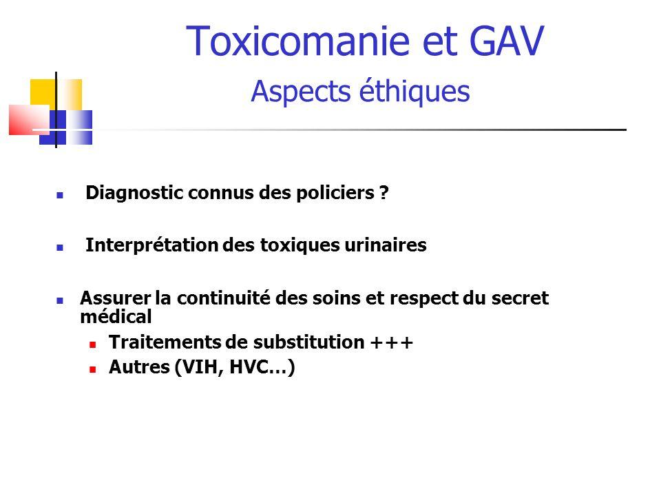 Toxicomanie et GAV Aspects éthiques