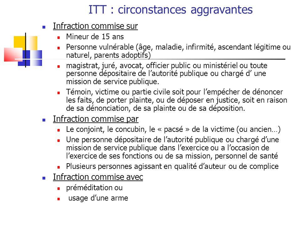 ITT : circonstances aggravantes