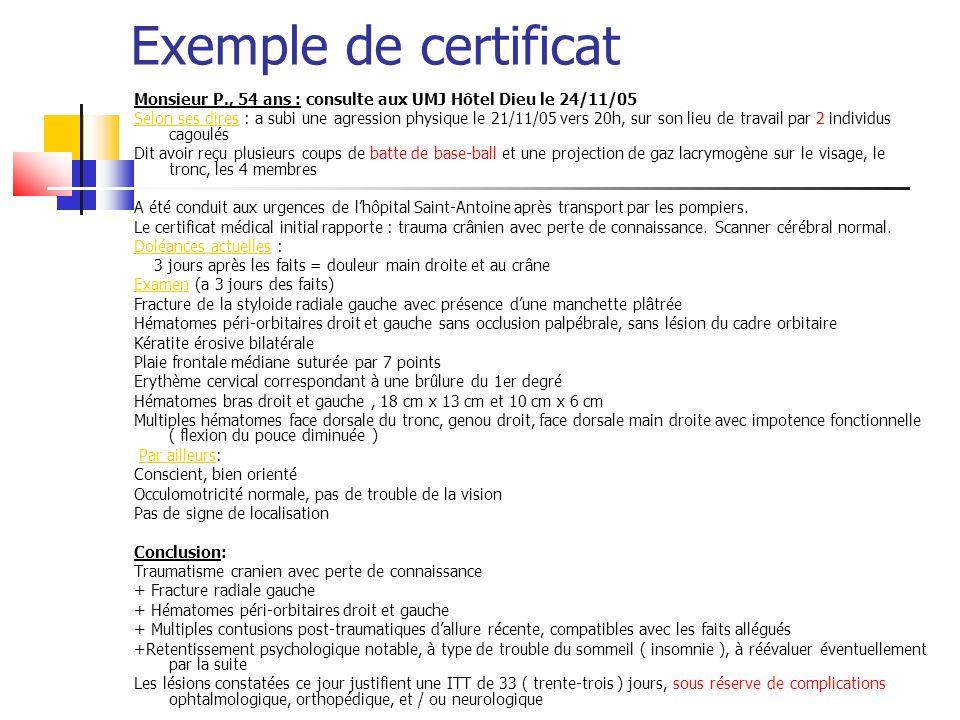 Exemple de certificat Monsieur P., 54 ans : consulte aux UMJ Hôtel Dieu le 24/11/05.
