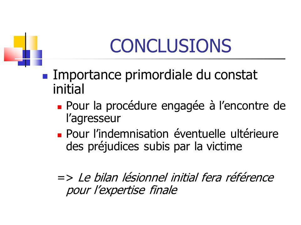 CONCLUSIONS Importance primordiale du constat initial