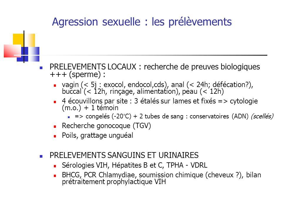 Agression sexuelle : les prélèvements