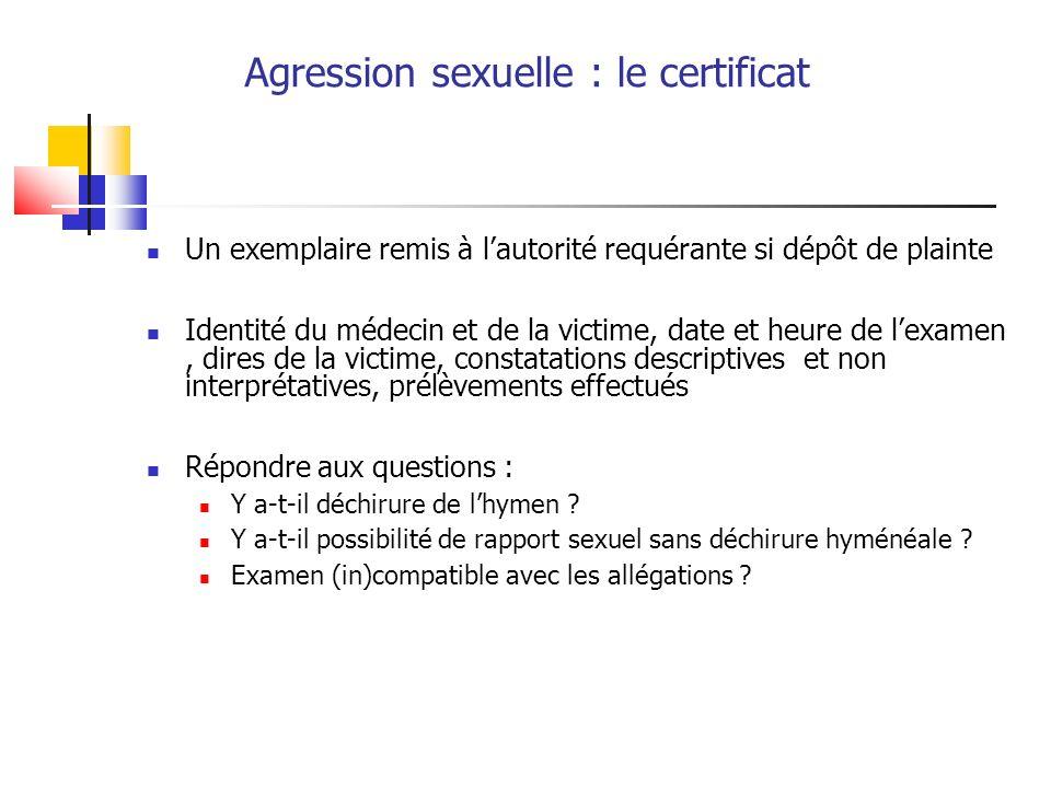 Agression sexuelle : le certificat