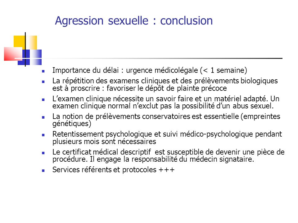Agression sexuelle : conclusion