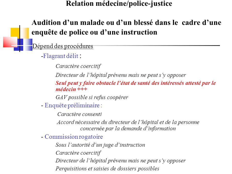 Relation médecine/police-justice Audition d'un malade ou d'un blessé dans le cadre d'une enquête de police ou d'une instruction