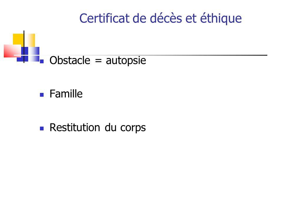 Certificat de décès et éthique