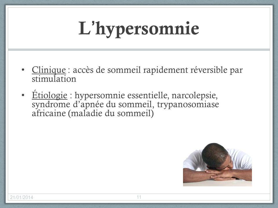 L'hypersomnie Clinique : accès de sommeil rapidement réversible par stimulation.
