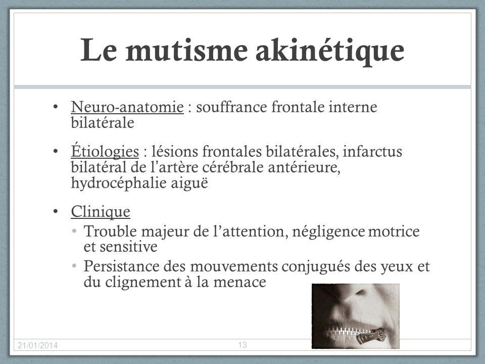 Le mutisme akinétique Neuro-anatomie : souffrance frontale interne bilatérale.
