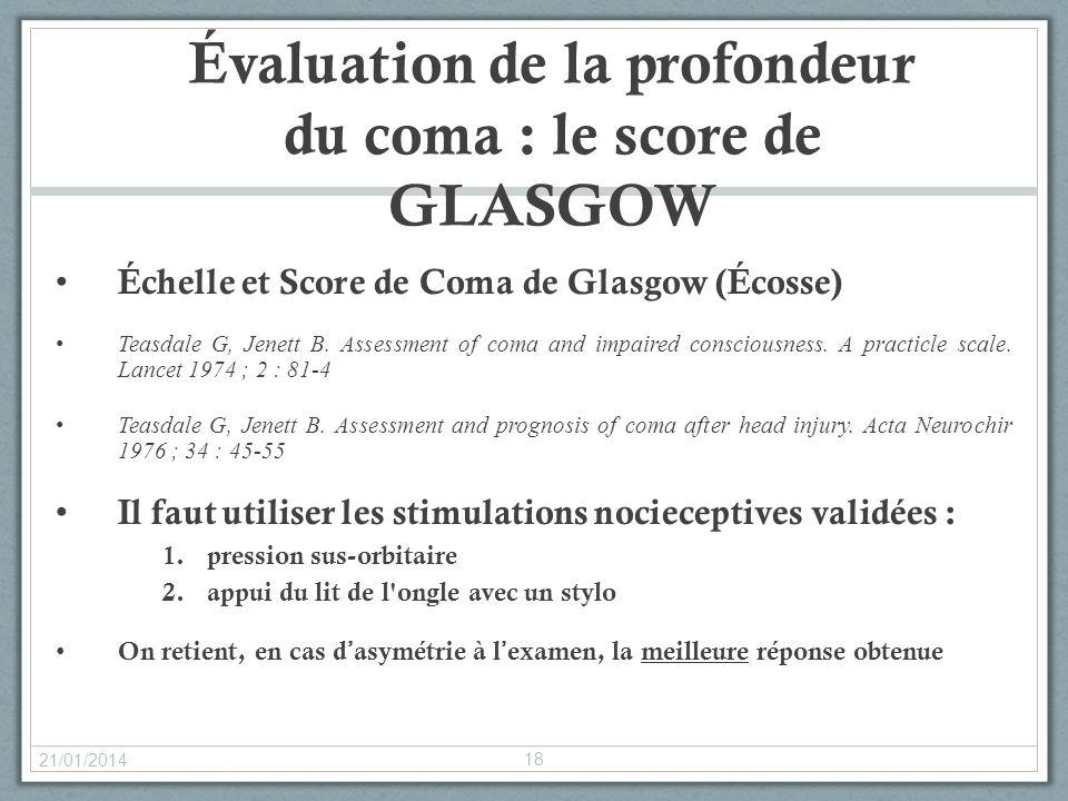 Évaluation de la profondeur du coma : le score de GLASGOW