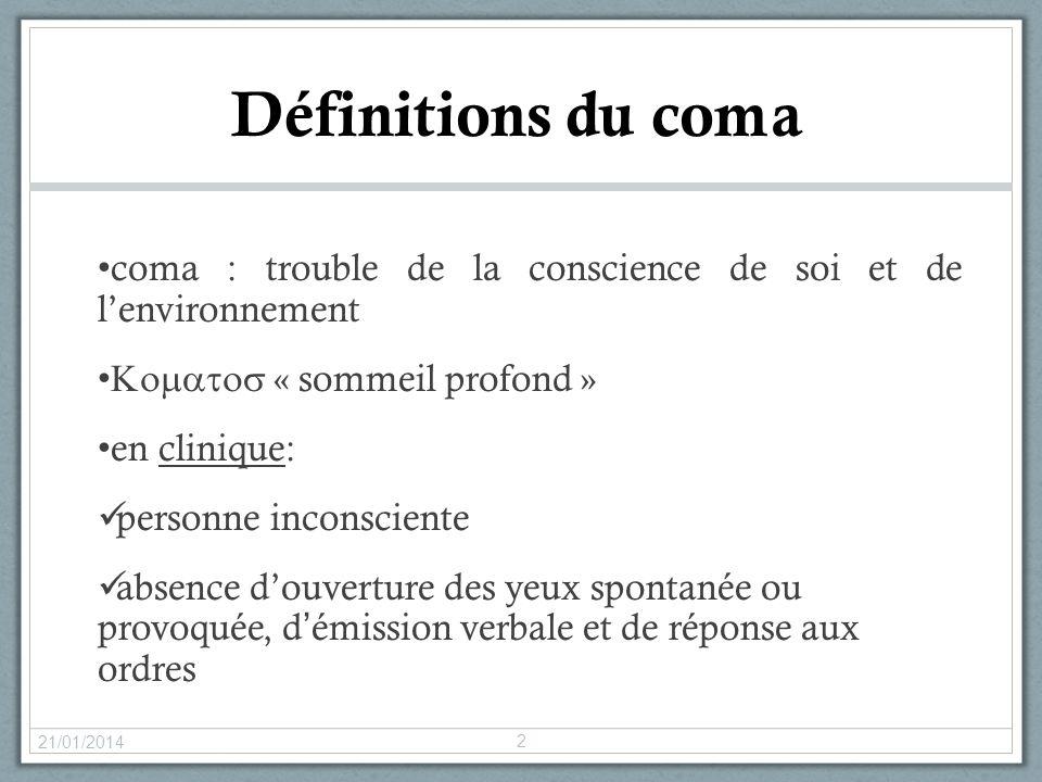 Définitions du coma coma : trouble de la conscience de soi et de l'environnement. Komatos « sommeil profond »