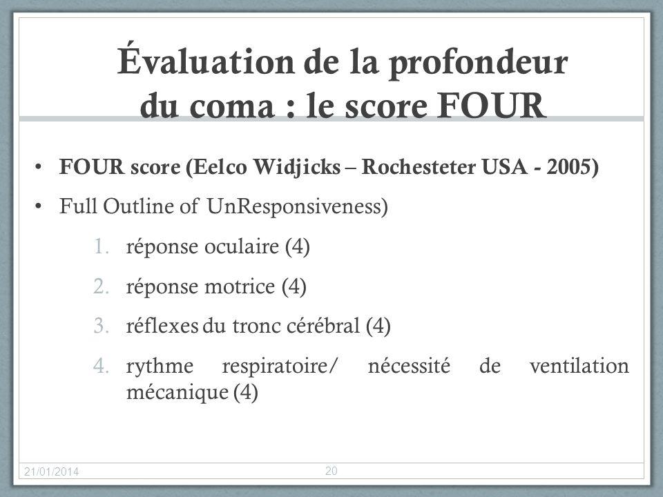 Évaluation de la profondeur du coma : le score FOUR