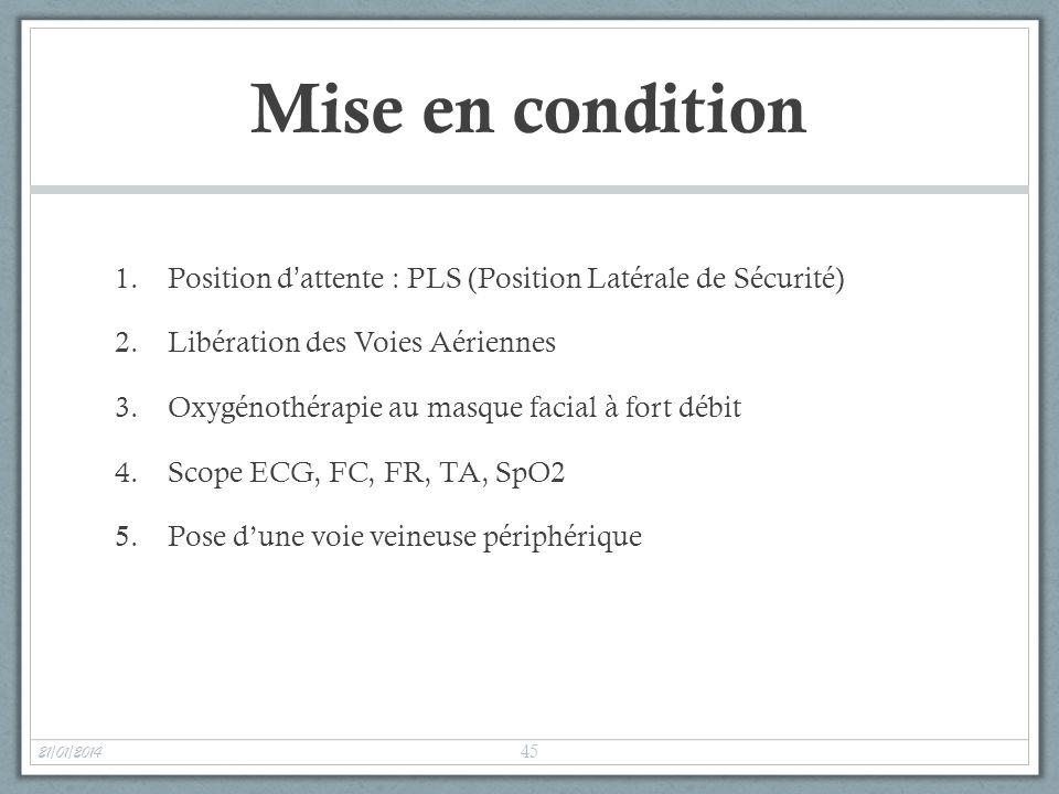 Mise en condition Position d'attente : PLS (Position Latérale de Sécurité) Libération des Voies Aériennes.