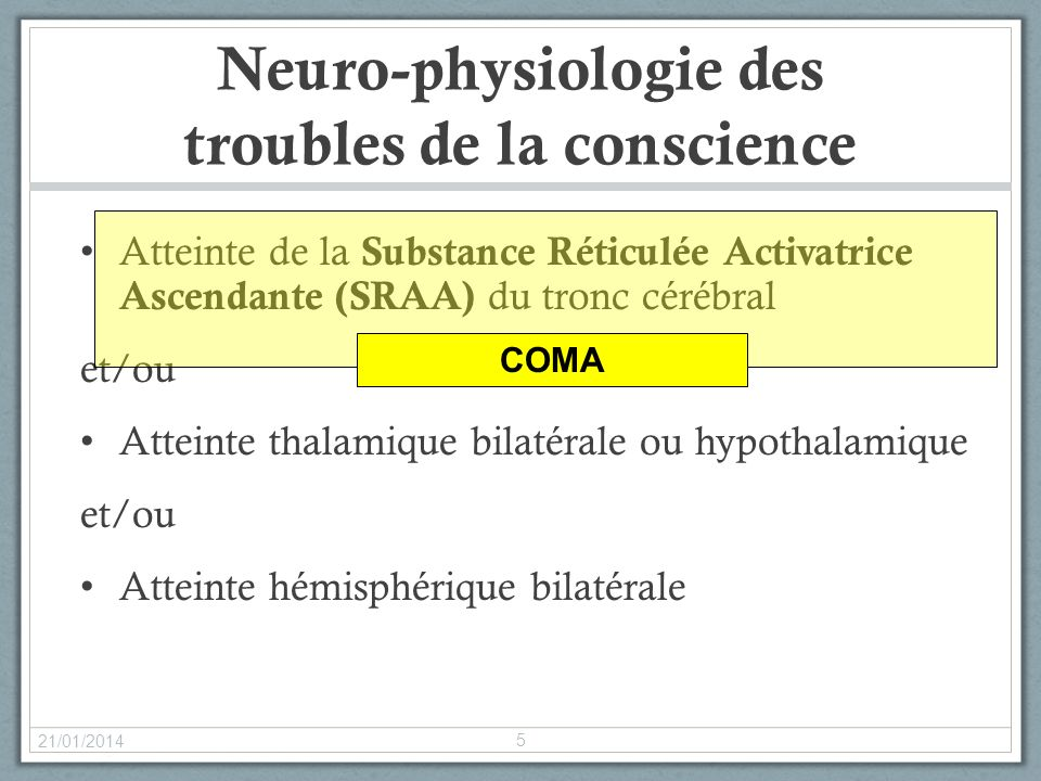 Neuro-physiologie des troubles de la conscience
