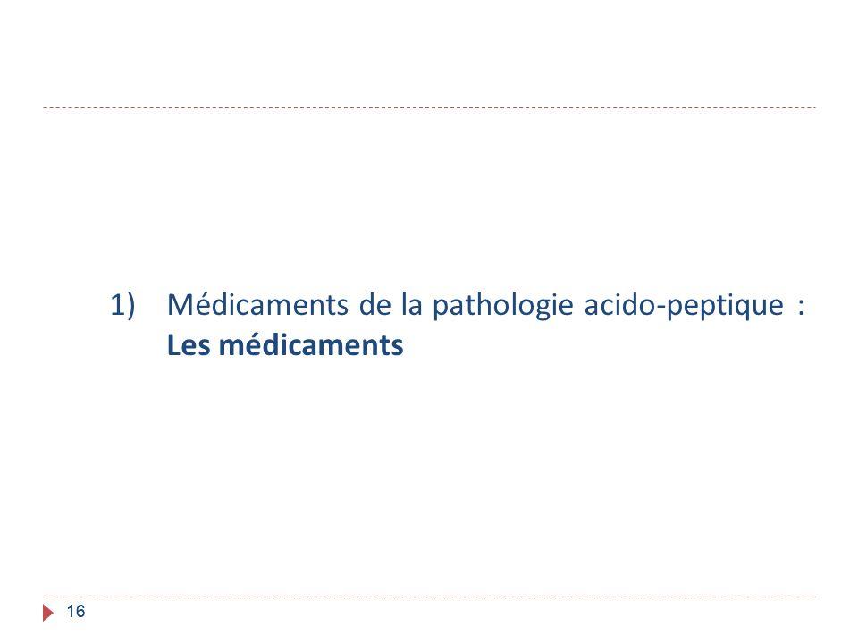 Médicaments de la pathologie acido-peptique : Les médicaments