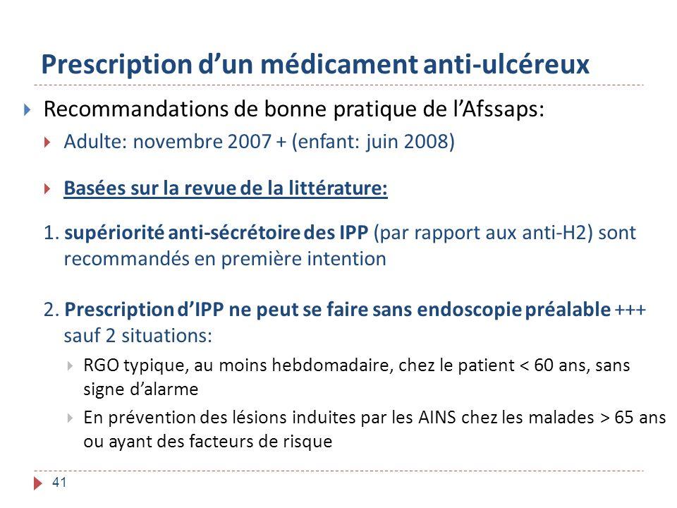 Prescription d'un médicament anti-ulcéreux