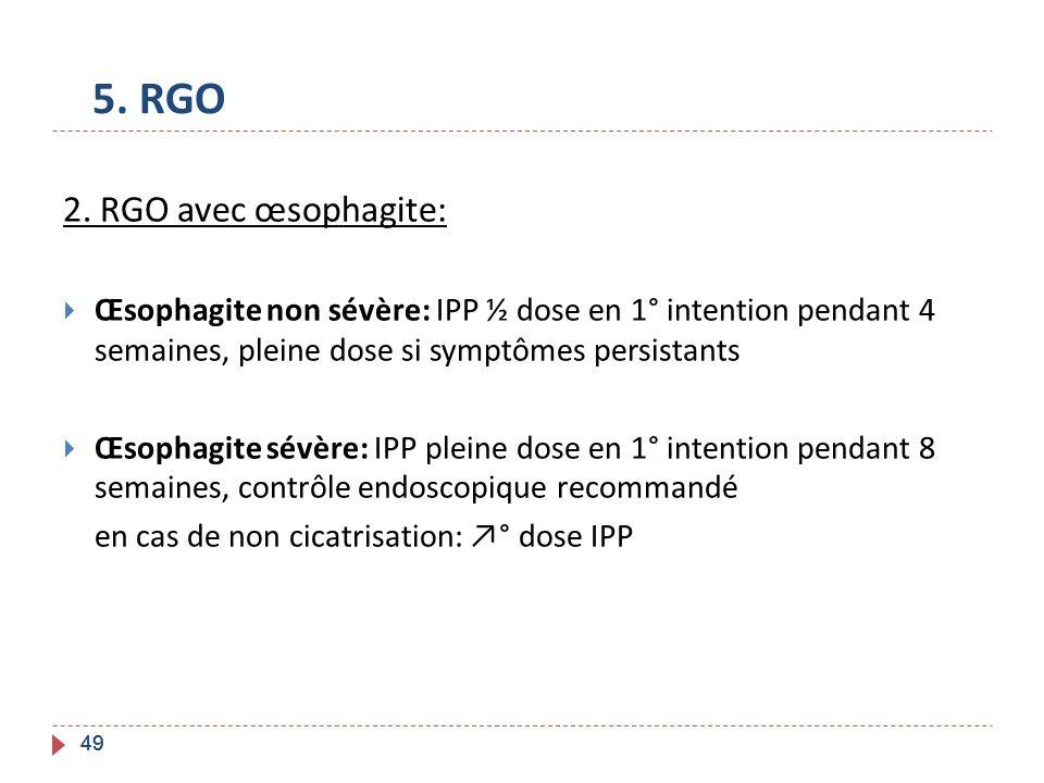 5. RGO 2. RGO avec œsophagite:
