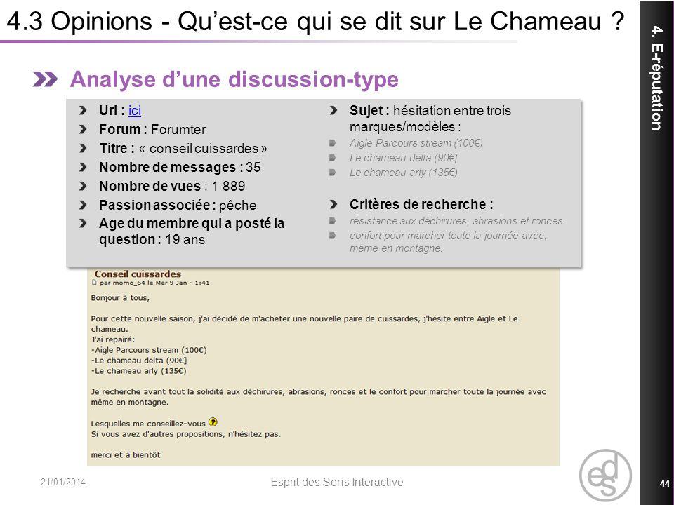 4.3 Opinions - Qu'est-ce qui se dit sur Le Chameau