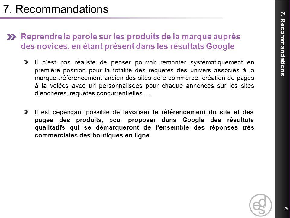 7. Recommandations Reprendre la parole sur les produits de la marque auprès des novices, en étant présent dans les résultats Google.
