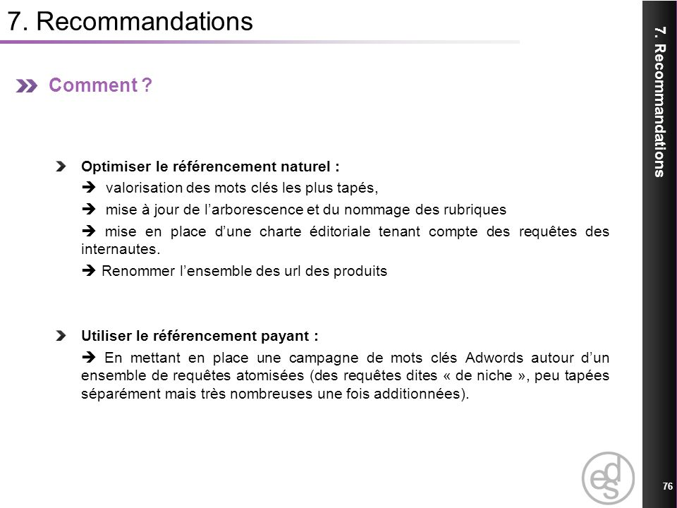 7. Recommandations Comment 7. Recommandations
