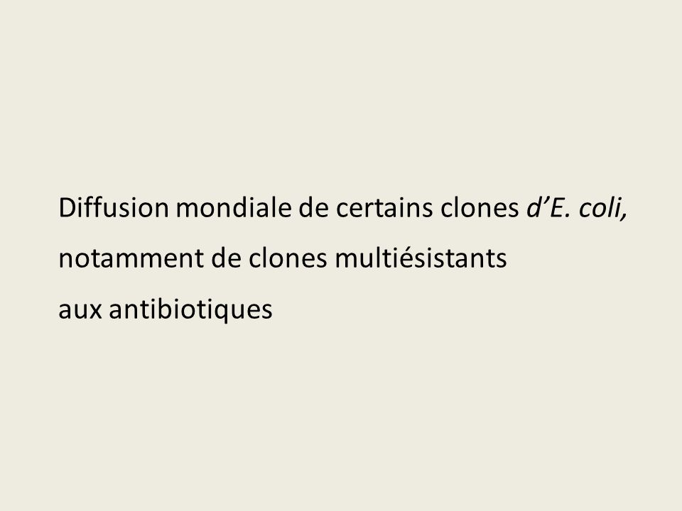 Diffusion mondiale de certains clones d'E. coli,