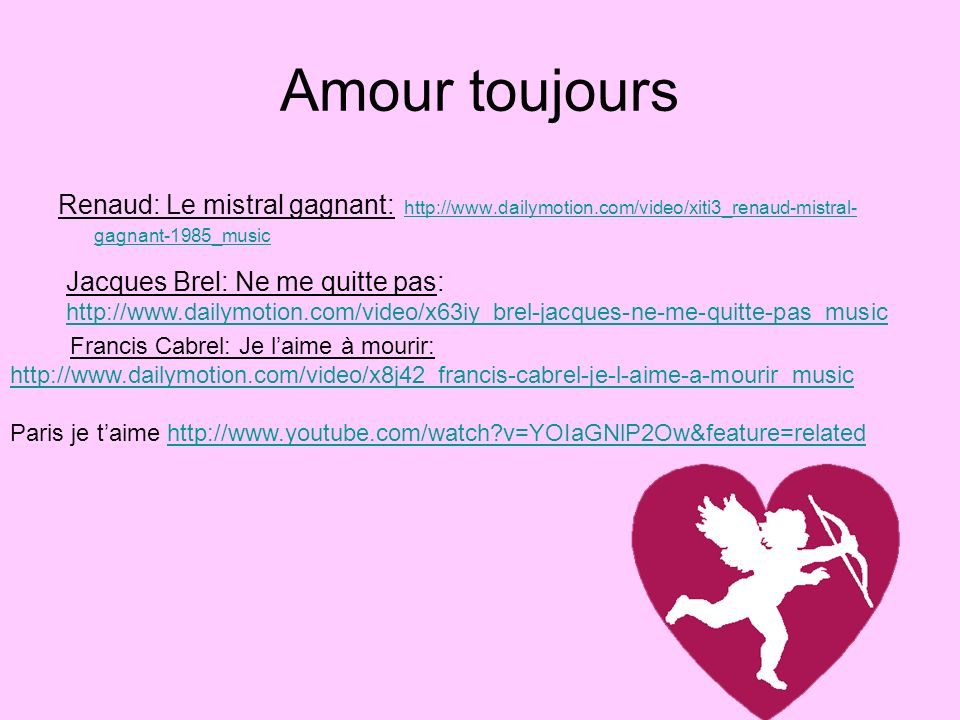 Amour toujours Renaud: Le mistral gagnant: http://www.dailymotion.com/video/xiti3_renaud-mistral-gagnant-1985_music.
