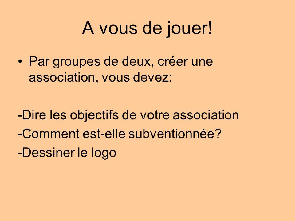 A vous de jouer! Par groupes de deux, créer une association, vous devez: -Dire les objectifs de votre association.