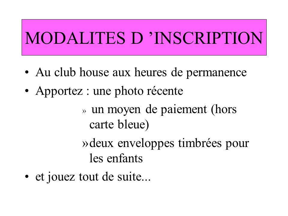 MODALITES D 'INSCRIPTION
