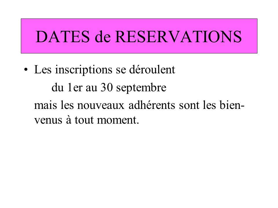 DATES de RESERVATIONS Les inscriptions se déroulent