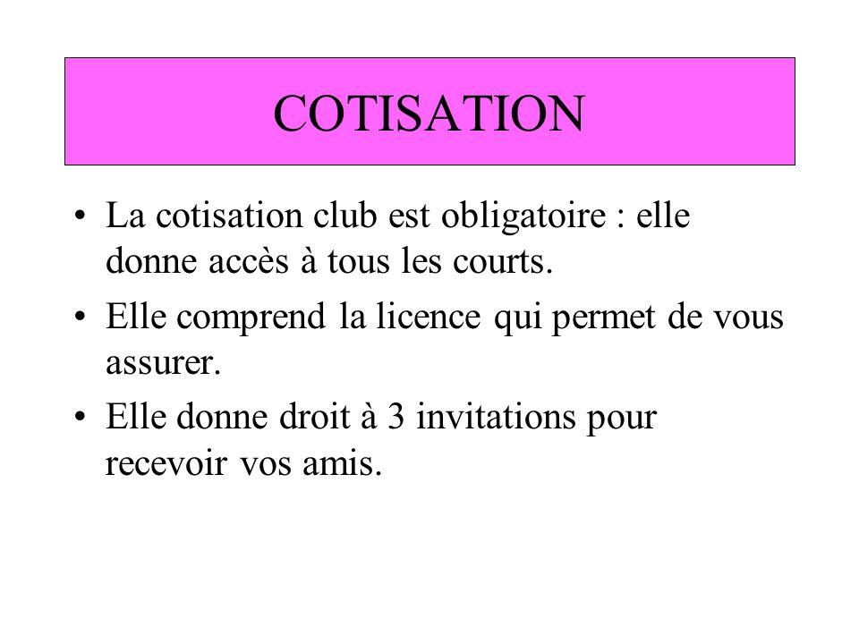 COTISATION La cotisation club est obligatoire : elle donne accès à tous les courts. Elle comprend la licence qui permet de vous assurer.