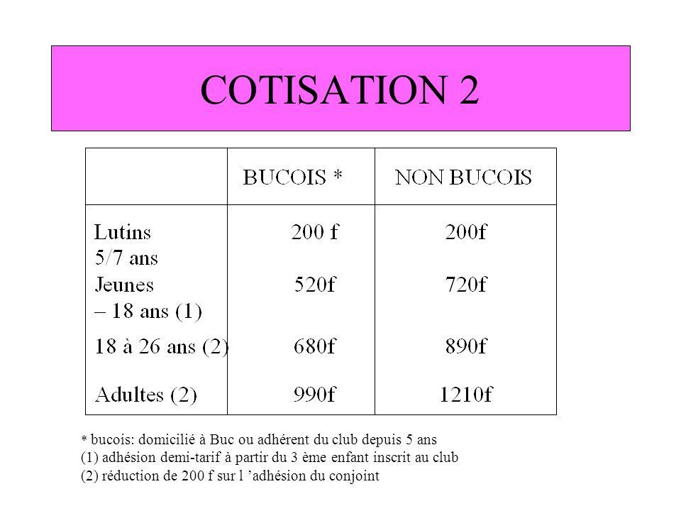COTISATION 2 * bucois: domicilié à Buc ou adhérent du club depuis 5 ans. (1) adhésion demi-tarif à partir du 3 ème enfant inscrit au club.