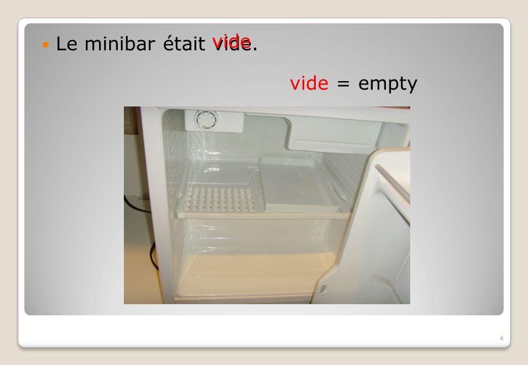 Le minibar était vide. vide vide = empty