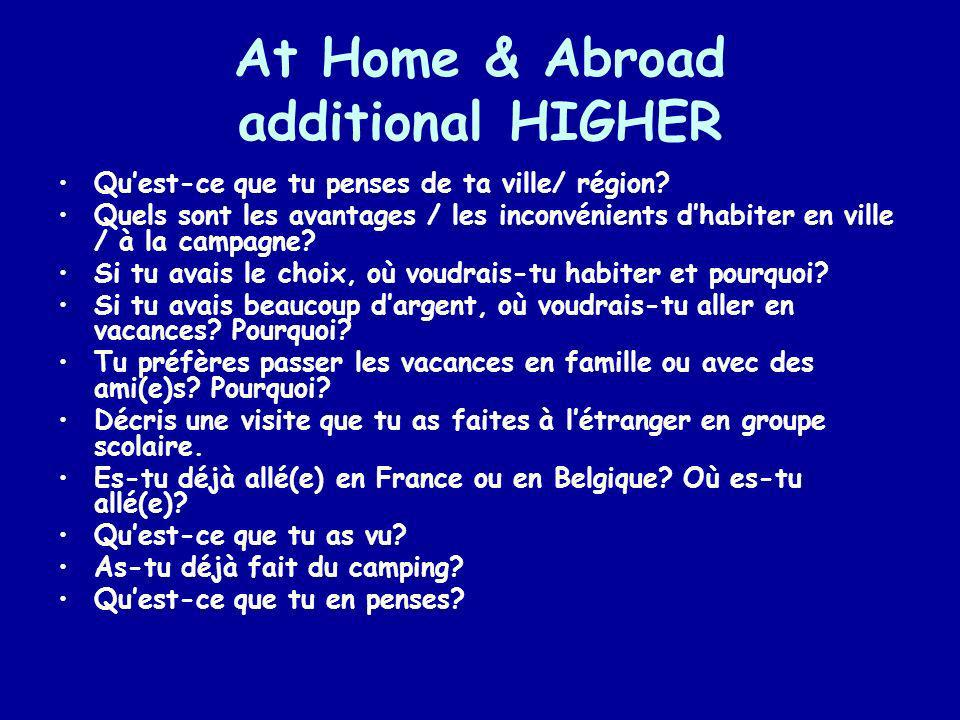 At Home & Abroad additional HIGHER