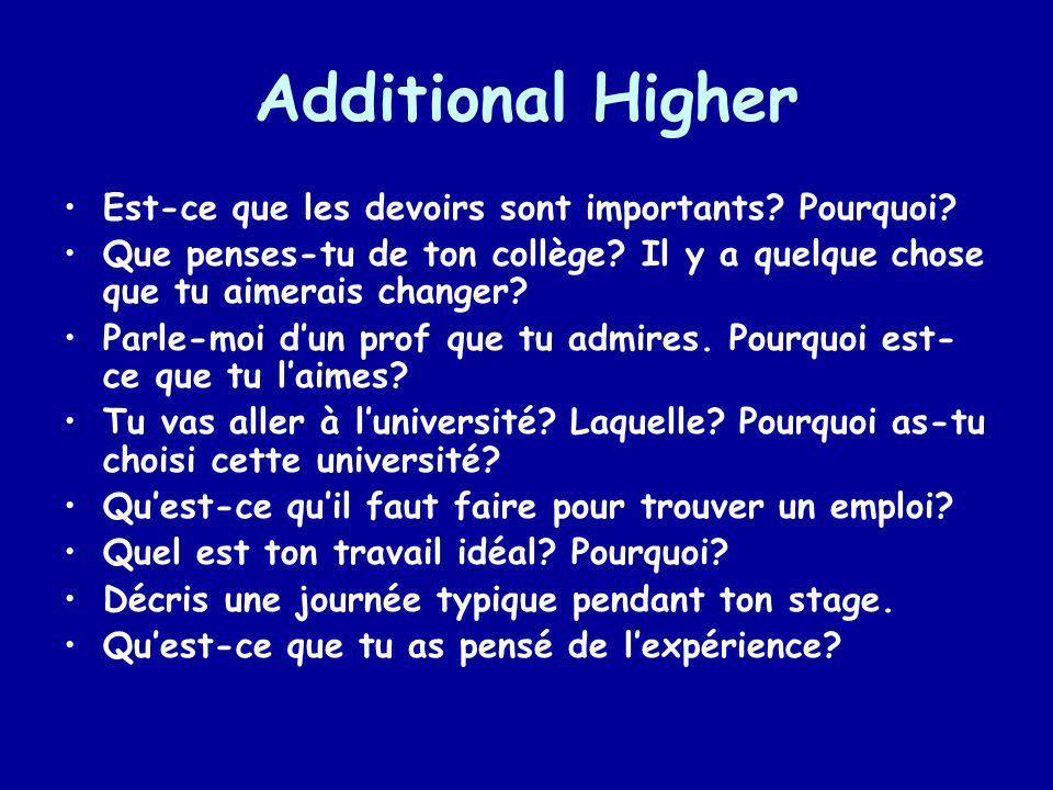 Additional Higher Est-ce que les devoirs sont importants Pourquoi