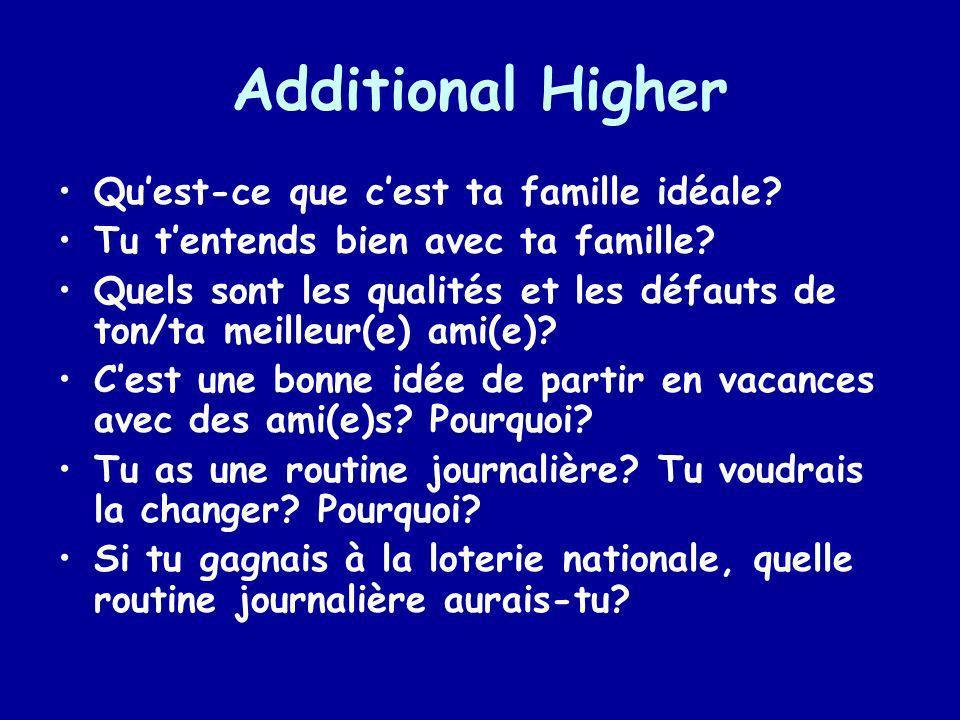 Additional Higher Qu'est-ce que c'est ta famille idéale