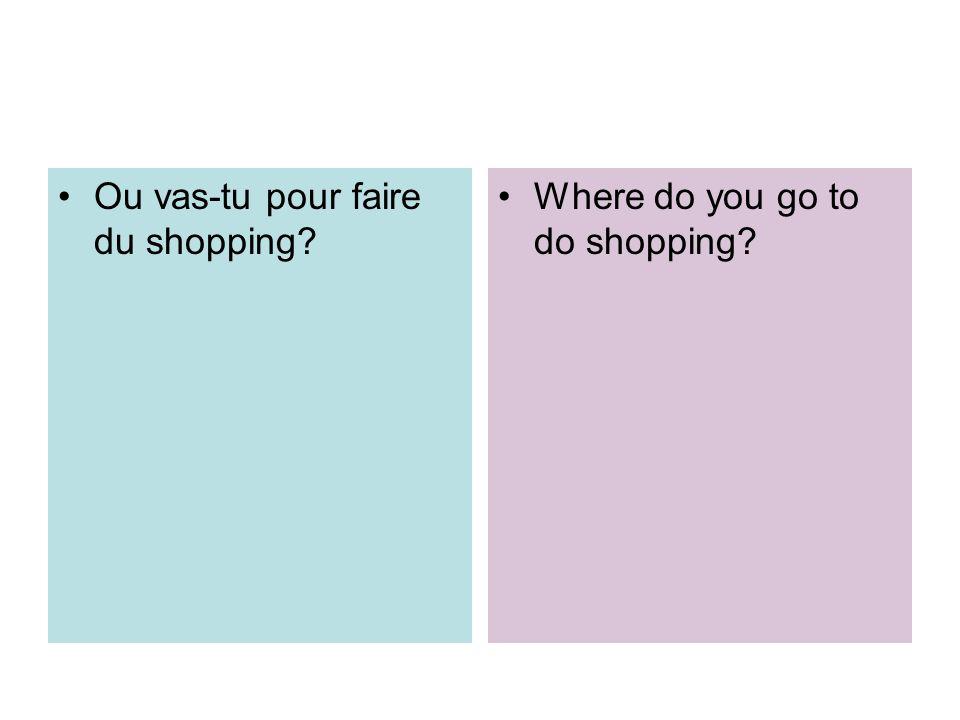 Ou vas-tu pour faire du shopping