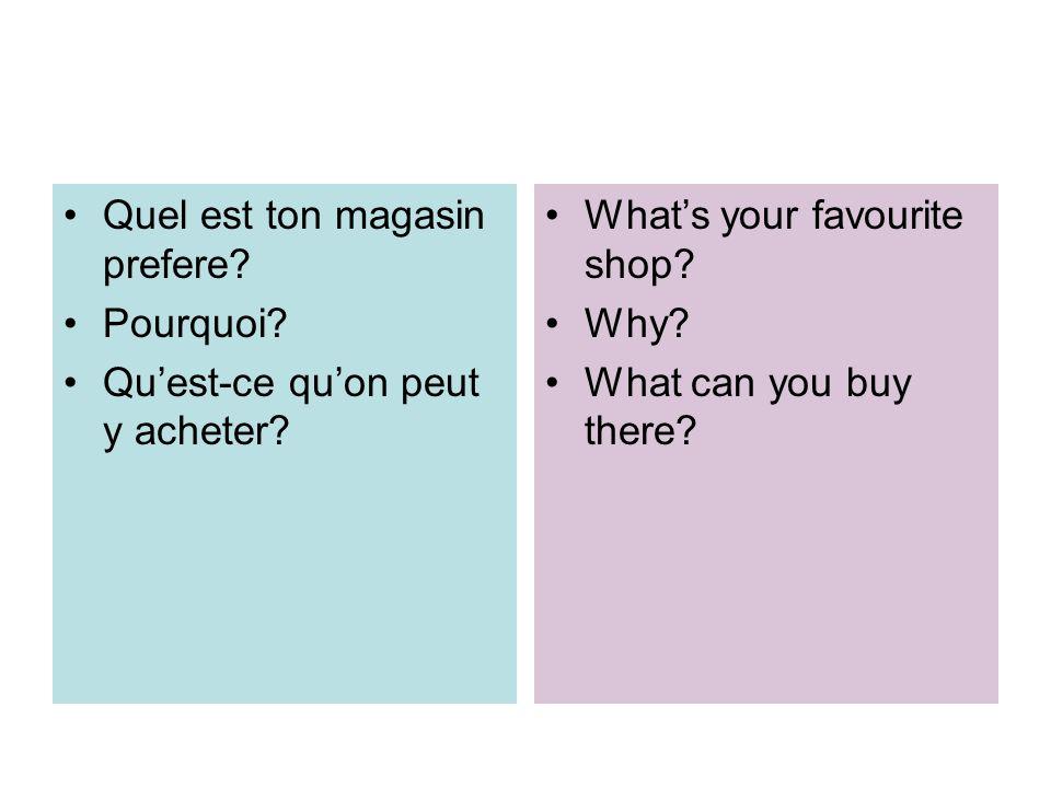 Quel est ton magasin prefere