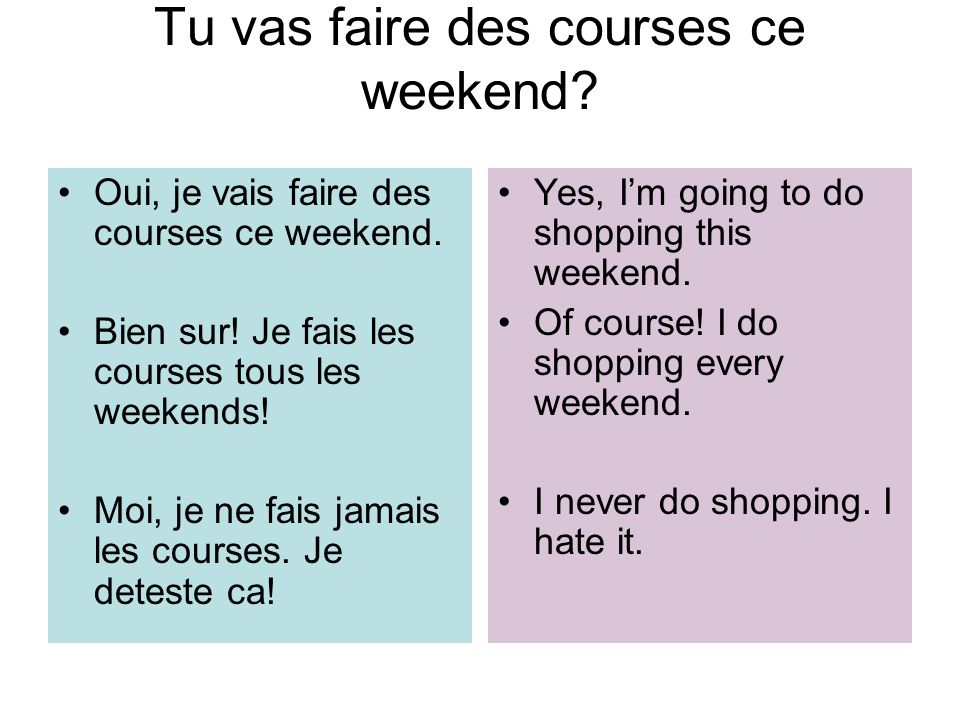 Tu vas faire des courses ce weekend