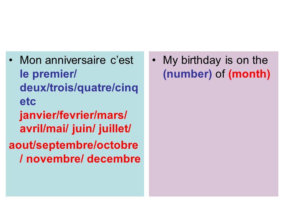 Mon anniversaire c'est le premier/ deux/trois/quatre/cinq etc janvier/fevrier/mars/ avril/mai/ juin/ juillet/