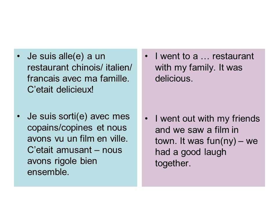 Je suis alle(e) a un restaurant chinois/ italien/ francais avec ma famille. C'etait delicieux!