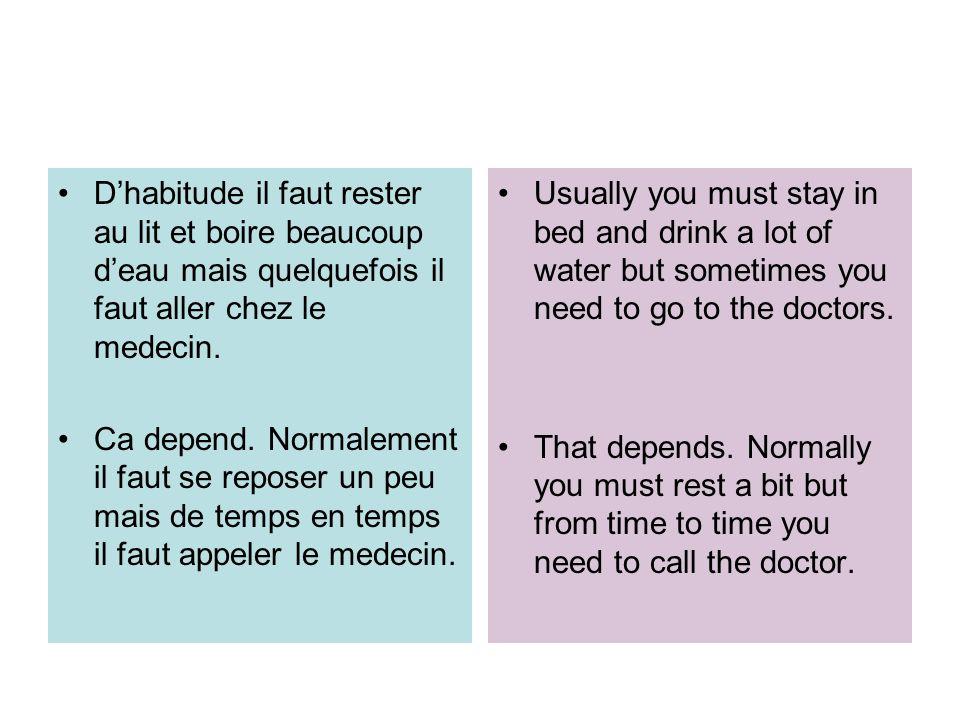 D'habitude il faut rester au lit et boire beaucoup d'eau mais quelquefois il faut aller chez le medecin.