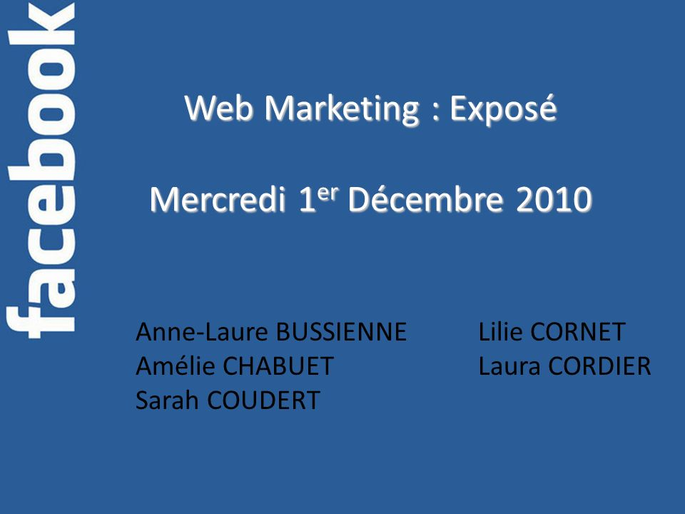 Web Marketing : Exposé Mercredi 1er Décembre 2010