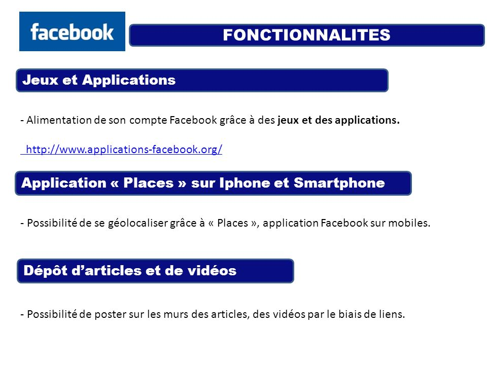 FONCTIONNALITES Jeux et Applications