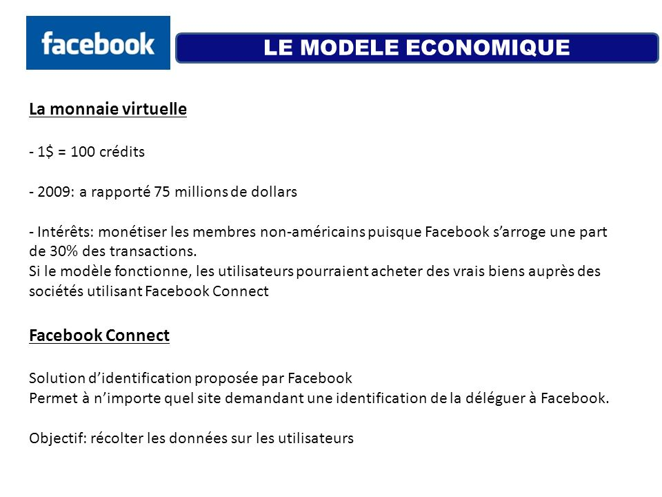 LE MODELE ECONOMIQUE La monnaie virtuelle Facebook Connect