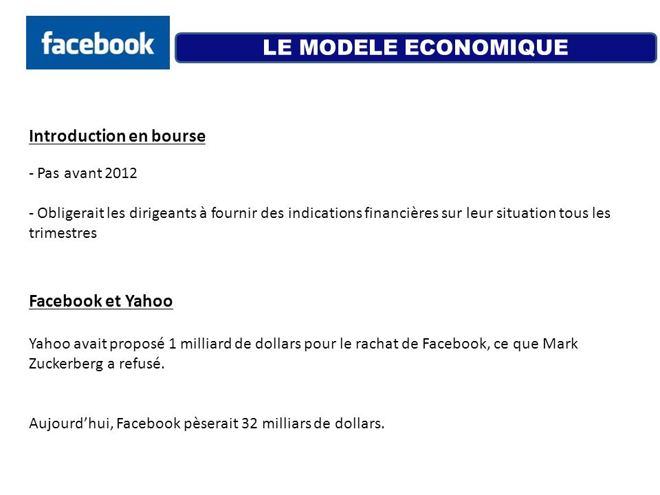 LE MODELE ECONOMIQUE Introduction en bourse Facebook et Yahoo