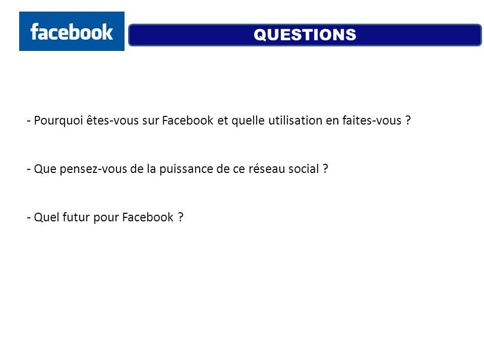 QUESTIONS Pourquoi êtes-vous sur Facebook et quelle utilisation en faites-vous Que pensez-vous de la puissance de ce réseau social