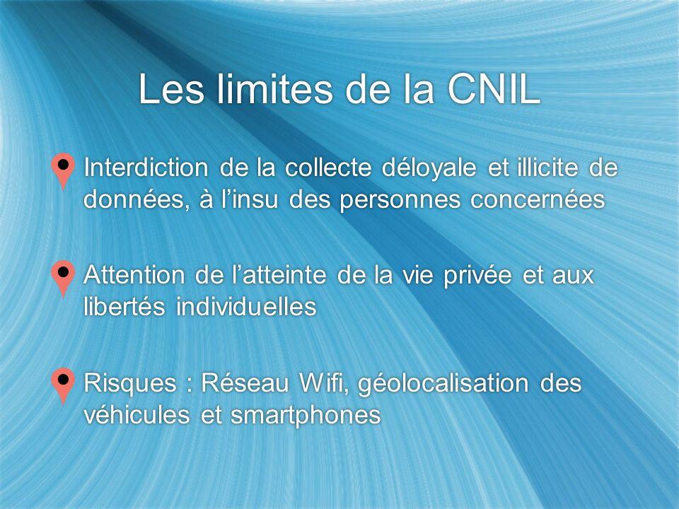 Les limites de la CNIL Interdiction de la collecte déloyale et illicite de données, à l'insu des personnes concernées.