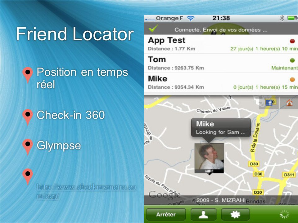Friend Locator Position en temps réel Check-in 360 Glympse